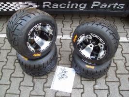 Felgen-Reifen-Satz VBW-Sport 10x8/10x10 schwarz-silber (Yamaha R 700)